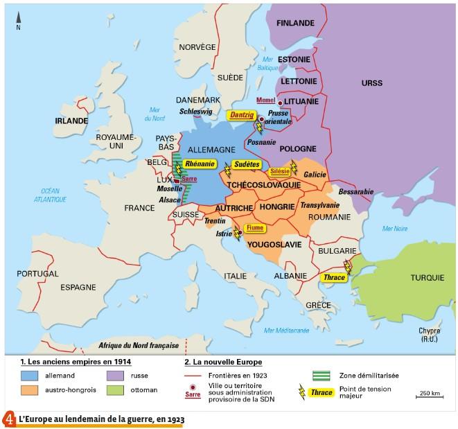 Carte De Leurope En 1919.Une Nouvelle Europe